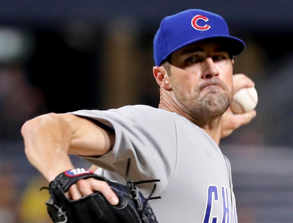 Chicago Cubs starter Cole Hamels pitches to a Pittsburgh Pirates batter during the first inning of a baseball game Friday, Aug. 17, 2018, in Pittsburgh. (AP Photo/Keith Srakocic)