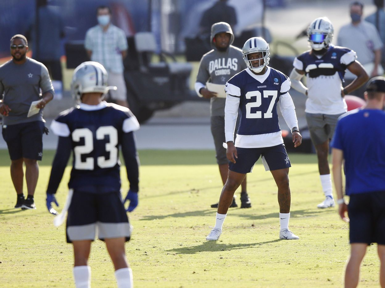 Dallas Cowboys safety Ha Ha Clinton-Dix (27) lines up before a drill during the first day of training camp at Dallas Cowboys headquarters at The Star in Frisco, Texas on Friday, August 14, 2020. (Vernon Bryant/The Dallas Morning News)