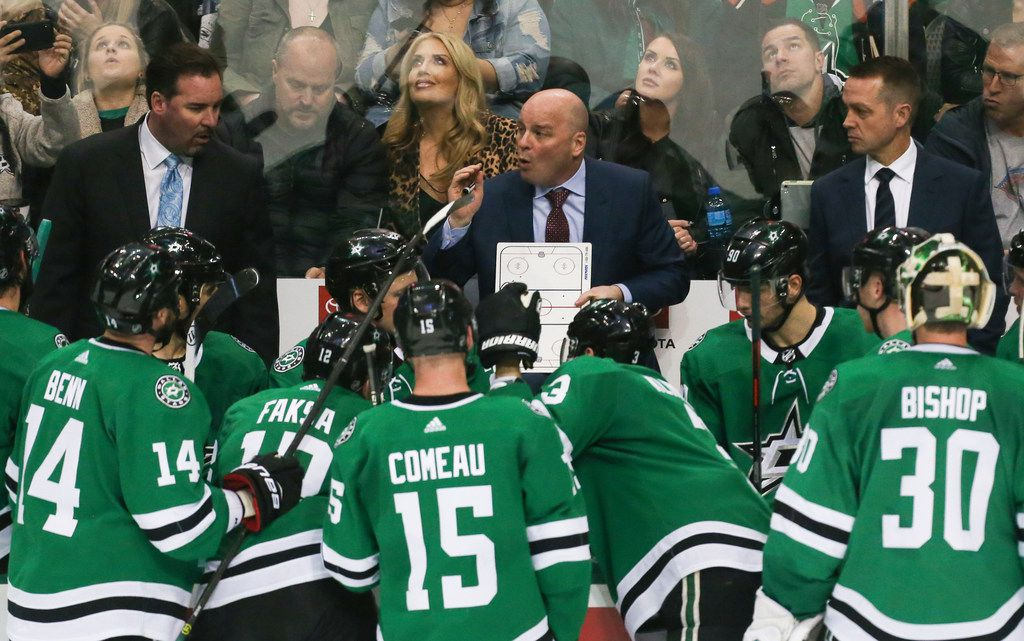 Dallas Stars head coach Jim Montgomery talks to the team during a timeout in the third period of a matchup between the Dallas Stars and the Buffalo Sabres on Wednesday, Jan. 30, 2019 at American Airlines Center in Dallas. (Ryan Michalesko/The Dallas Morning News)