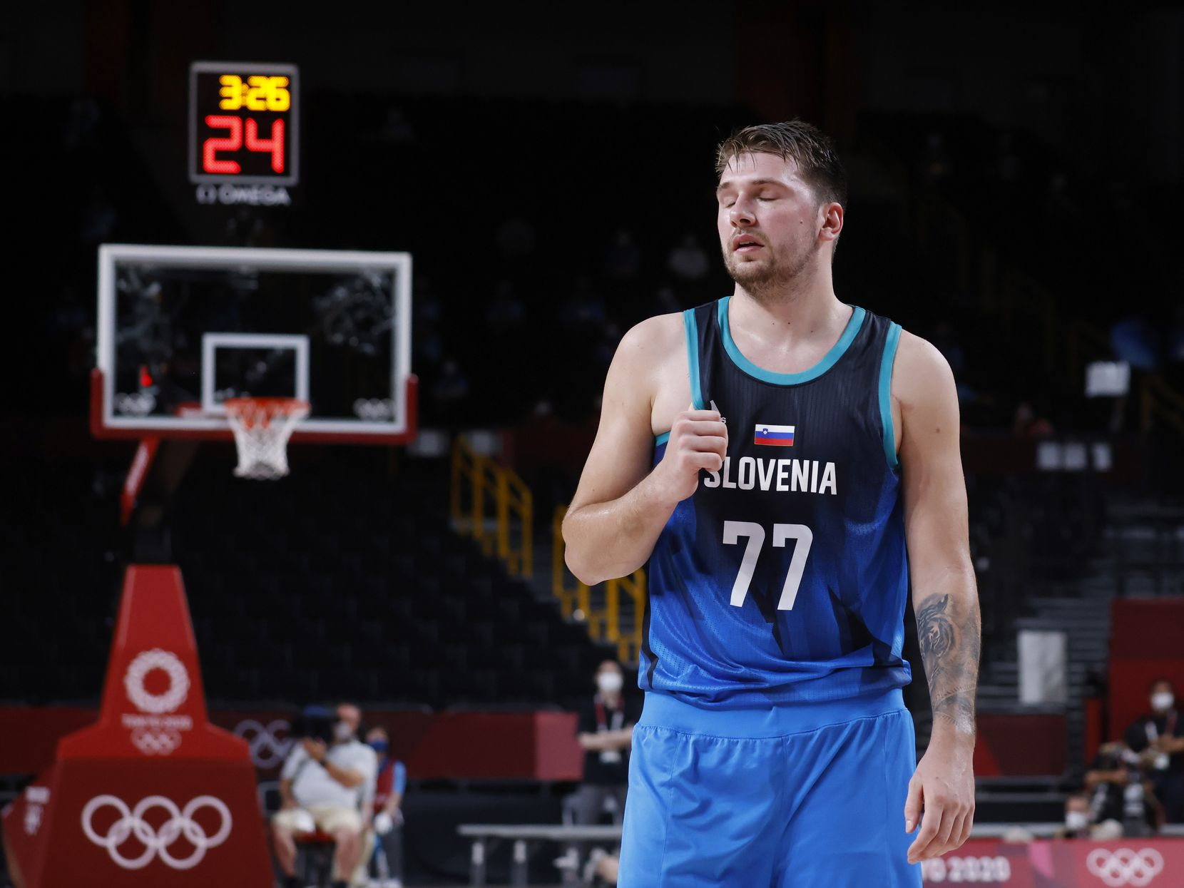Slovenia's Luka Doncic (7) reacts after a play in a game against France's during the second half of a men's basketball semifinal at the postponed 2020 Tokyo Olympics at Saitama Super Arena, on Thursday, August 5, 2021, in Saitama, Japan. France defeated Slovenia 90-89. Slovenia will play in the bronze medal game. (Vernon Bryant/The Dallas Morning News)