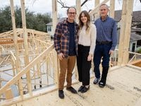Nick Thurmond (left) with his wife Taylor and father Virgil at a Lower Greenville home they're building in Dallas.