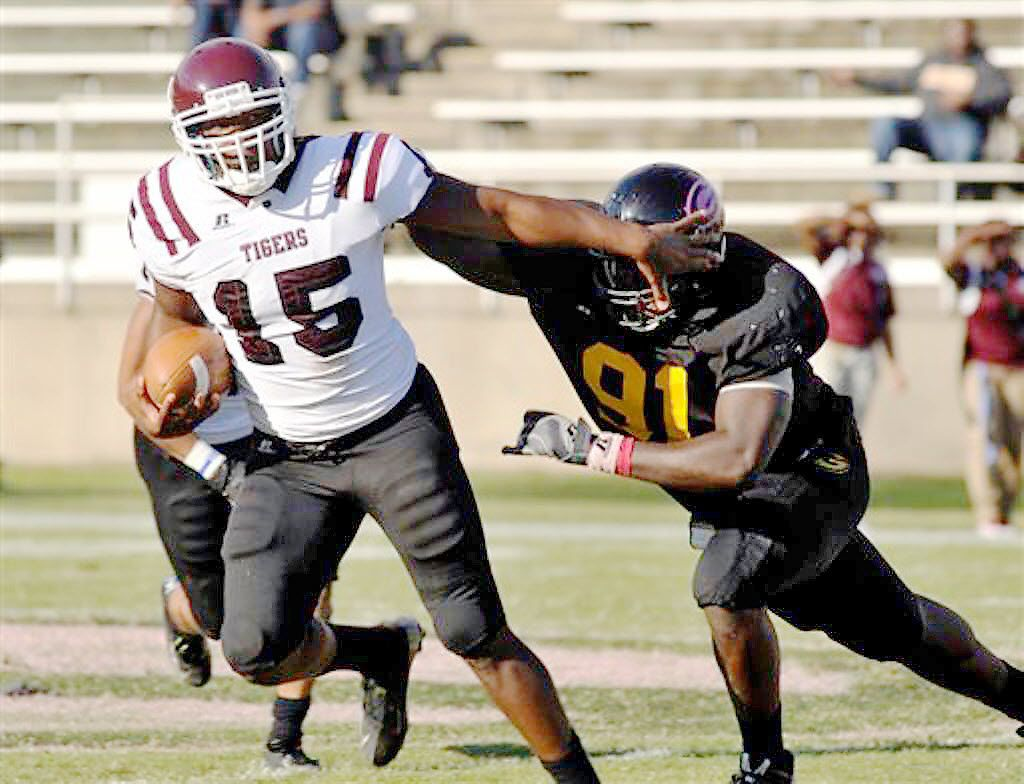 Jamar Small, left, a quarterback for Texas Southern University football, shown in an undated file photo. He died in Dec 2015 in Asbury Park, NJ. In 2014, Small led the Tigers in passing yards (904) and touchdowns (8).  Their 5-0 start was the school's best since 2009. He earned a football scholarship and graduated from TSU with a bachelor's in business administration.