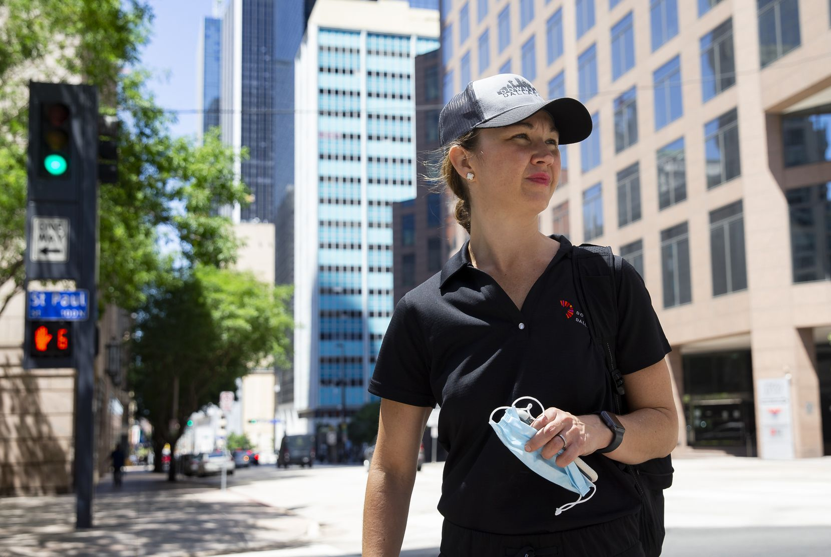Downtown Dallas Inc. CEO Kourtny Garrett surveyed damage in downtown Dallas after racial justice protests in May led to damaged storefronts.