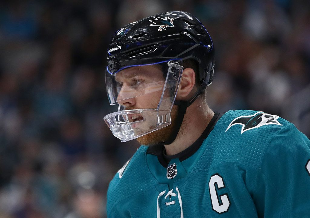 SAN JOSE, CALIFORNIA - APRIL 18:  Joe Pavelski #8 of the San Jose Sharks in action against the Vegas Golden Knights in Game Five of the Western Conference First Round during the 2019 NHL Stanley Cup Playoffs at SAP Center on April 18, 2019 in San Jose, California. (Photo by Ezra Shaw/Getty Images)