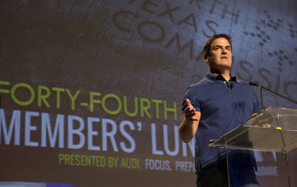 Dallas Mavericks owner Mark Cuban delivers his keynote speech during the North Texas Commission's 44th Annual Members Luncheon at the Irving Convention Center in Las Colinas.