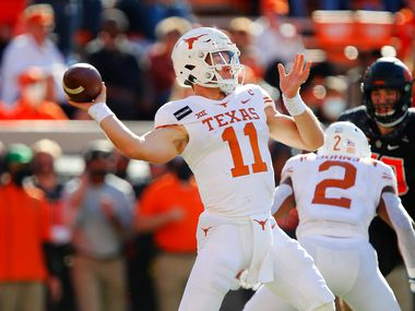 STILLWATER, OK - OCTOBER 31:  Quarterback Sam Ehlinger #11 of the Texas Longhorns throws against the Oklahoma State Cowboys in the second quarter at Boone Pickens Stadium on October 31, 2020 in Stillwater, Oklahoma.  (Pool Photo by Brian Bahr/Getty Images) EDITORIAL USE ONLY  *** Local Caption *** Sam Ehlinger