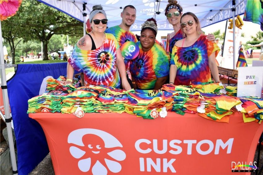 """Inkers"" from Custom Ink sold gear and celebrated at the 2019 Dallas Pride Celebration at Fair Park."
