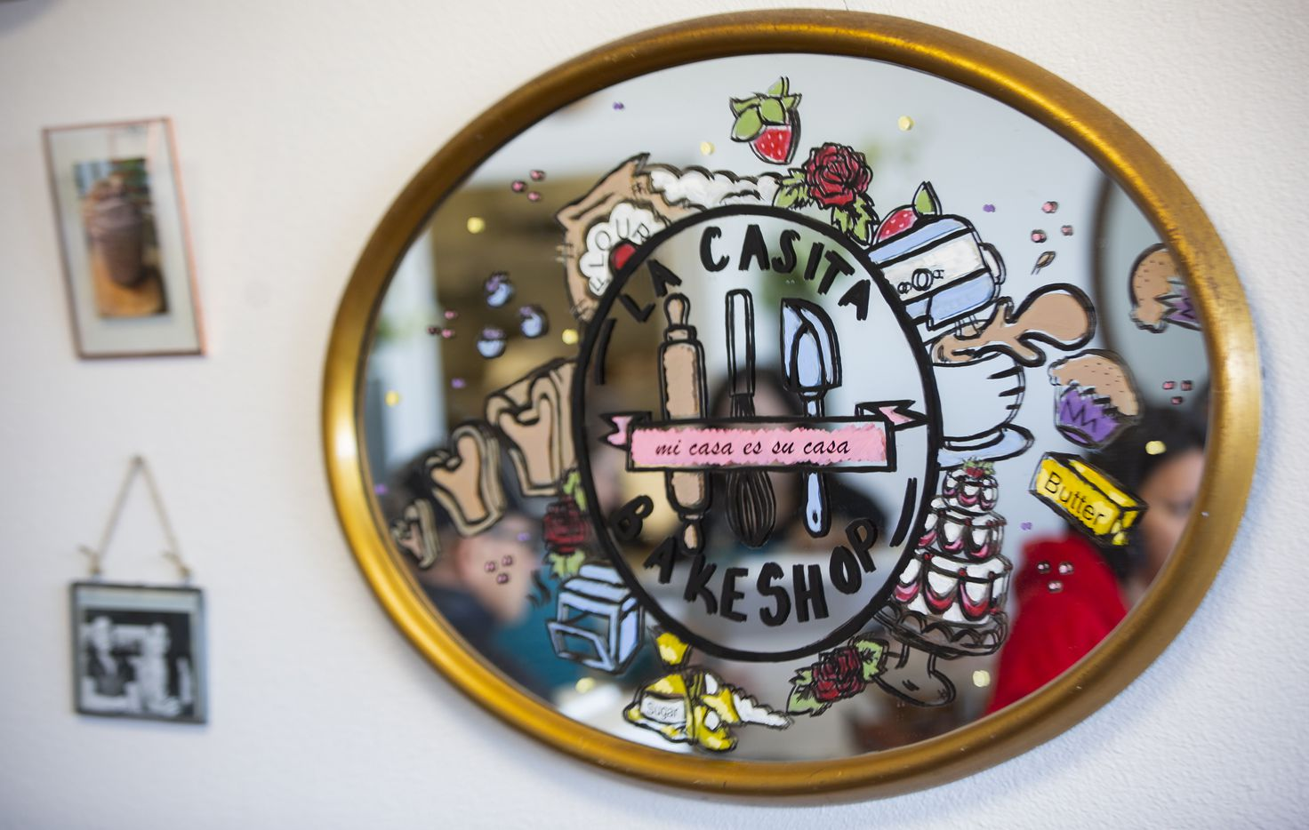 A mirror in La Casita Bakeshop during the shops opening day on Feb. 8, 2020 in Richardson.