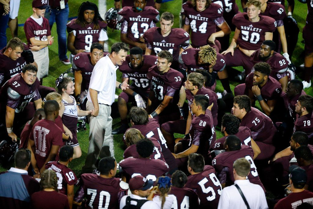 Rowlett High head coach Doug Stephens talks to his players after they beat Plano High at Homer B Johnson Stadium in Garland, Texas, Friday, September 9, 2016.