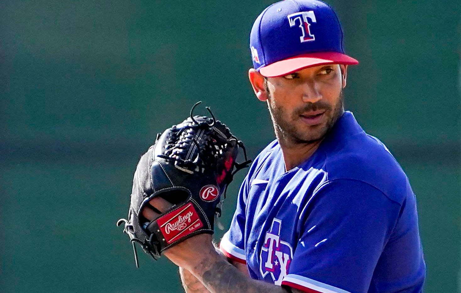 Texas Rangers pitcher Matt Bush throws live batting practice uring a spring training workout at the team's training facility on Saturday, March 6, 2021, in Surprise, Ariz.