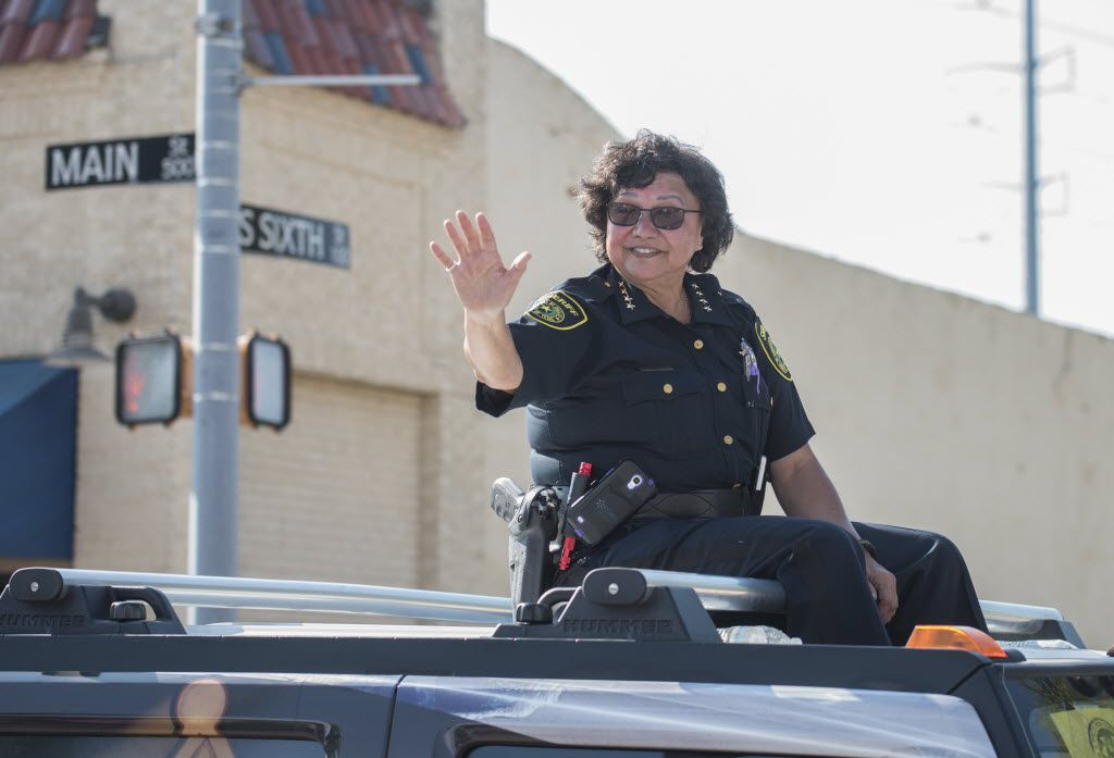 Dallas County Sheriff Lupe Valdez rode atop a Hummer in Garland's annual Labor Day Parade on Monday Sept. 7, 2015.