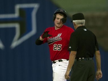 Coppell pitcher Chayton Krauss (25) asks for time-out as he is relieved by a pinch runner after reaching 2nd base on a double during the top of the 3rd inning of play against Hebron. The two teams played their District 6-6A baseball game at Hebron High School in Carrollton on April 6, 2021. (Steve Hamm/ Special Contributor)