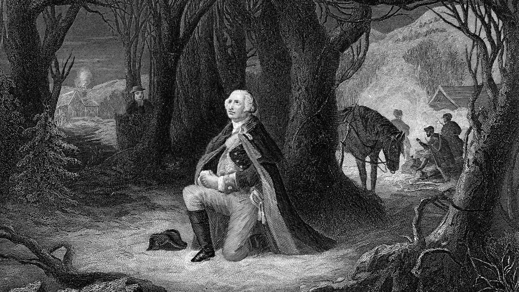 Engraving From 1882 Of George Washington Praying At Valley Forge During The American Revolutionary War.