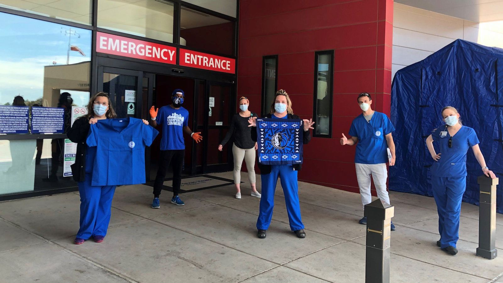 Recognizing the shortage of masks and other pandemic supplies, the Dallas Mavs merchandising team procured personal protective equipment for first responders and health care workers.