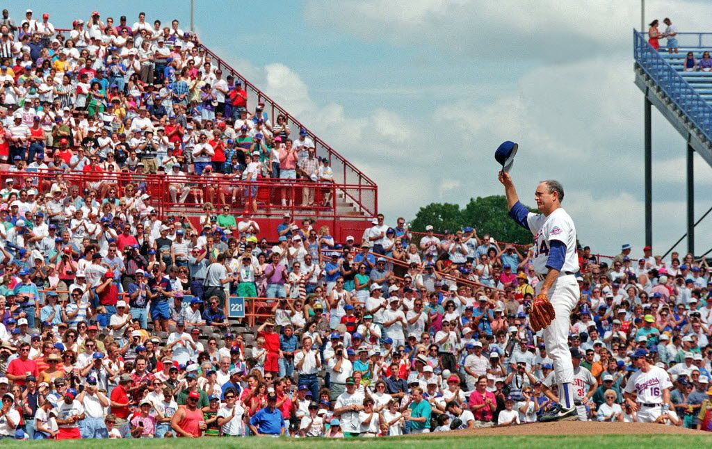 Nolan Ryan tipped his hat to the fans as his career was winding down, along with the life of Arlington Stadium.