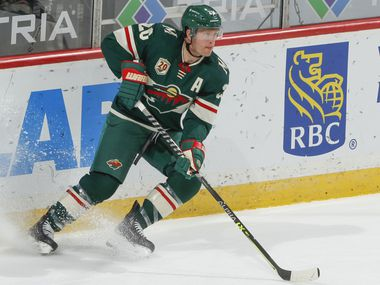 SAINT PAUL, MN - MAY 1: Ryan Suter #20 of the Minnesota Wild skates against the St. Louis Blues during the game at the Xcel Energy Center on May 1, 2021 in Saint Paul, Minnesota.
