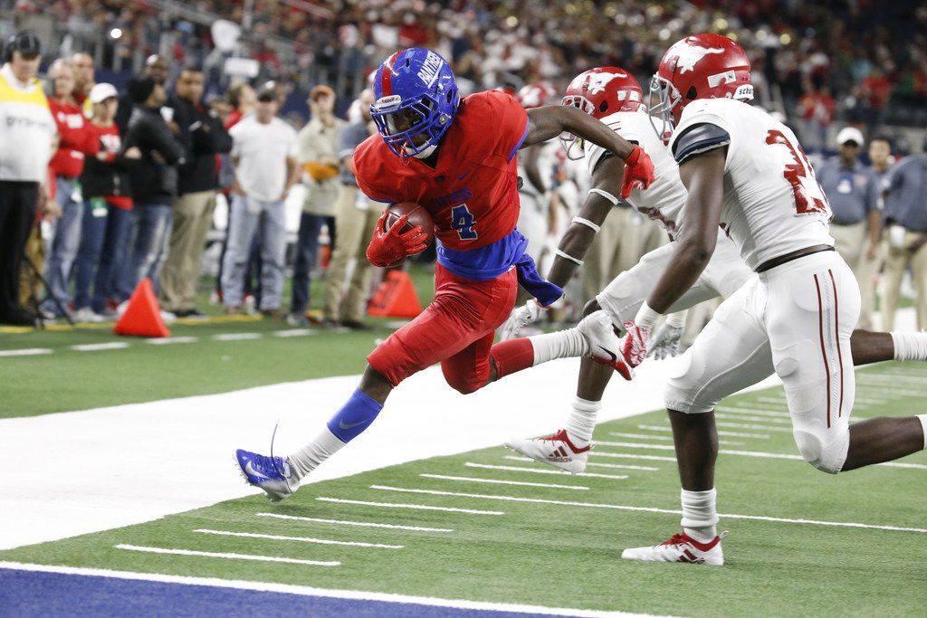 Duncanville's Gyasi Smith (4) tries for a touchdown after a run against Galena Park North Shore in the second of their Class 6A Division I football state championship game at AT&T Stadium in Arlington, Texas on Dec 22, 2018. Galena won 41-36.  (Nathan Hunsinger/The Dallas Morning News)