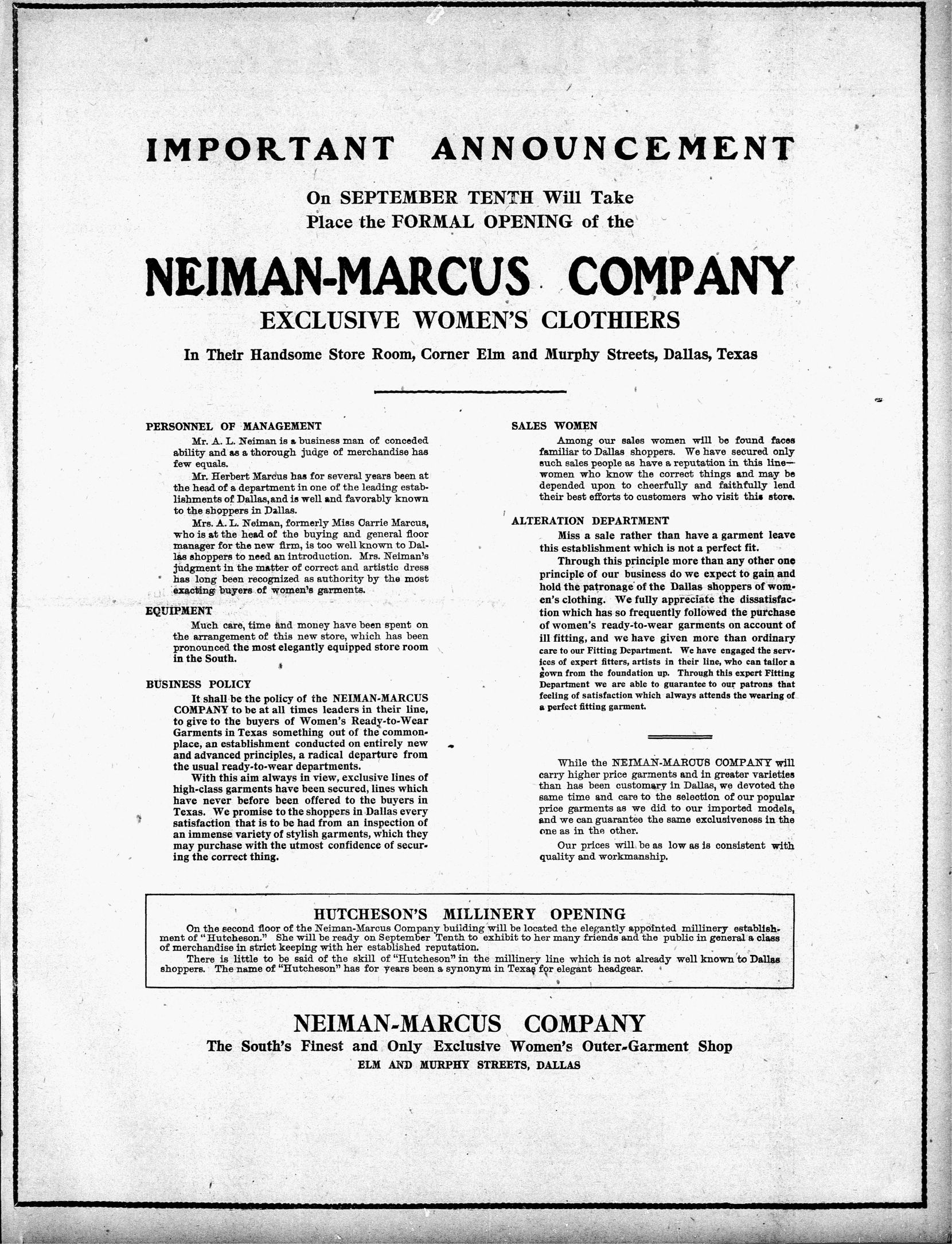 The announcement of the first Neiman Marcus store ran in The Dallas Morning News.