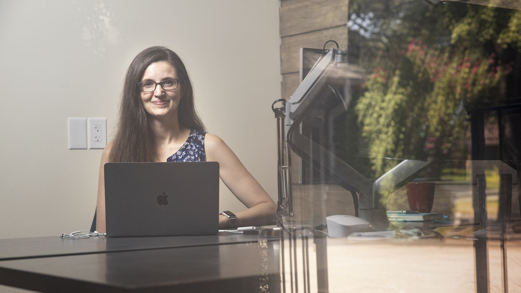 Candice Mills, a psychologist that studies how young children think, poses for a photo in her home office on Aug. 7, 2020 in Dallas. Mills had to quickly adapt and move more of her psychological experiments online, allowing her to recruit more diverse participants. (Juan Figueroa/ The Dallas Morning News)
