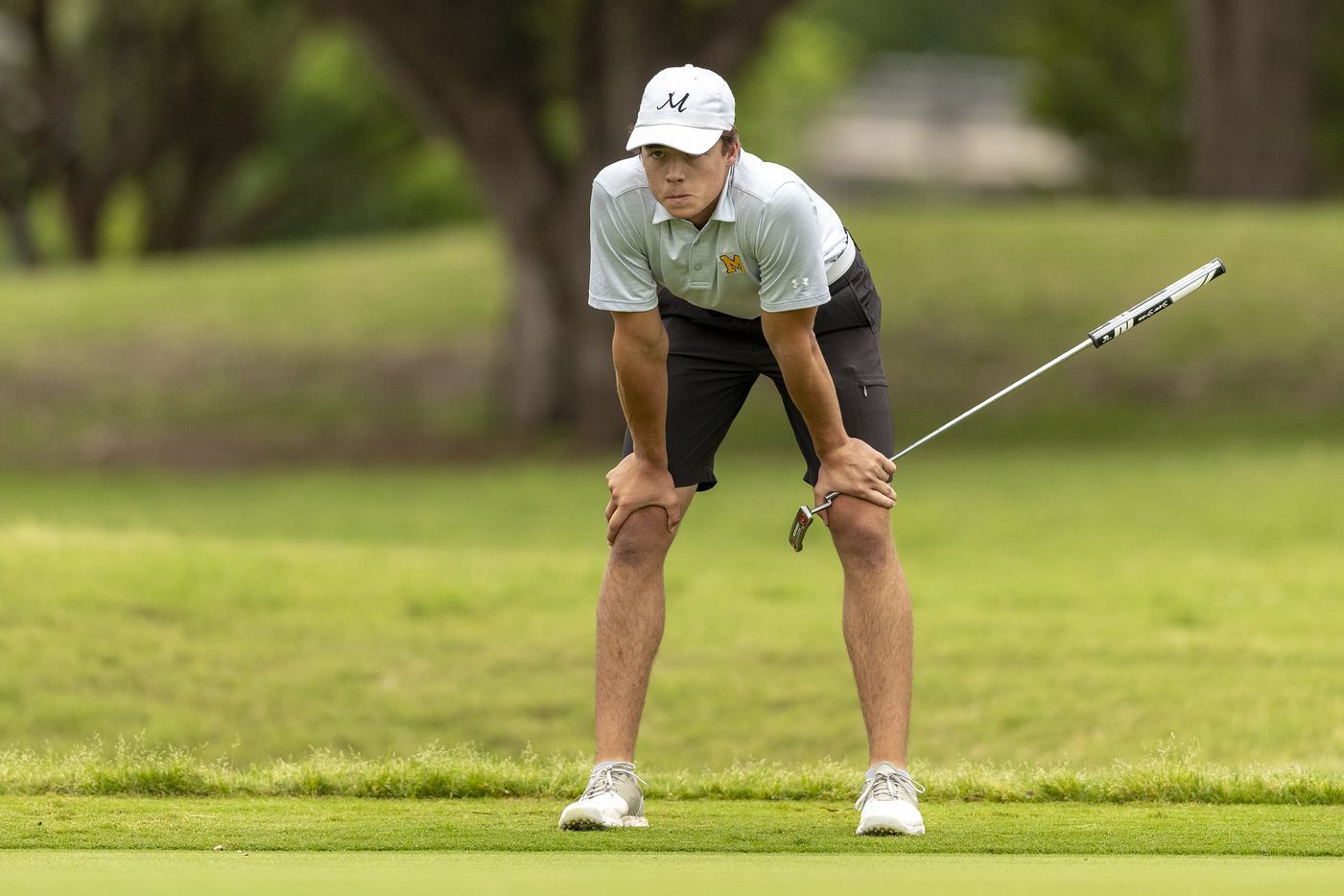 MansfieldÕs Ryan Hailey studies his shot on the 2nd green during the final round of the UIL Class 6A boys golf tournament in Georgetown, Tuesday, May 18, 2021. (Stephen Spillman/Special Contributor)