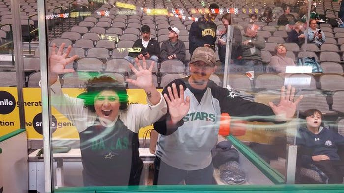"""Locked up"" in the Dallas Stars Pre-game Penalty Box Experience."