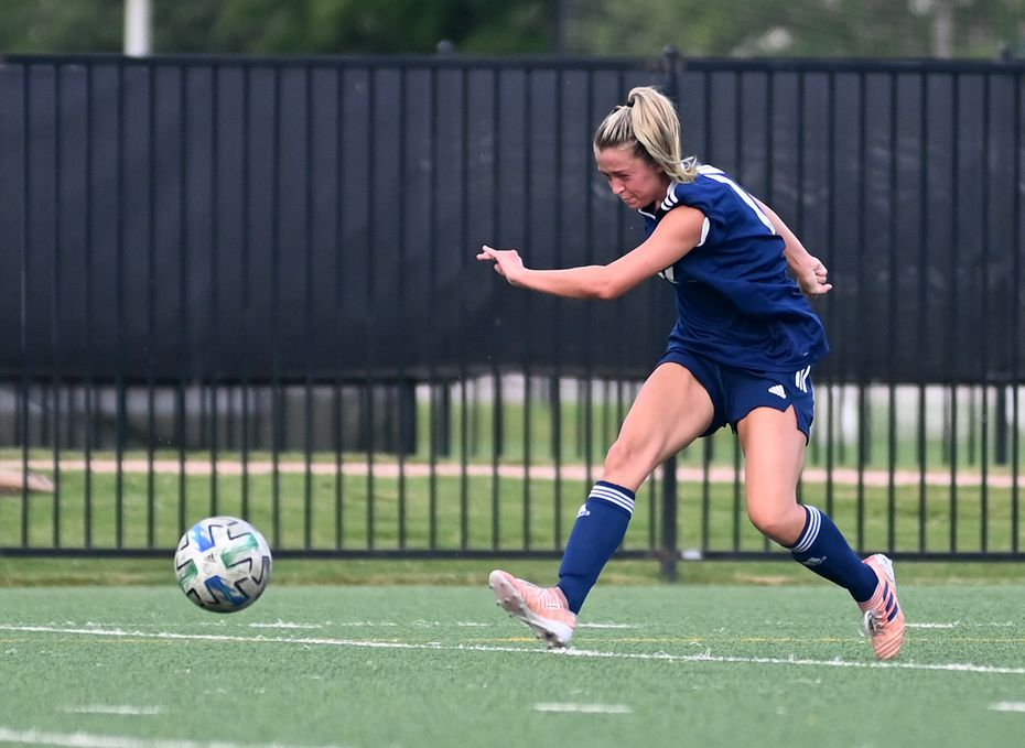 FC Dallas' Kaitlyn Giametta scores a goal in the first half of a WPSL game between Oklahoma City FC and FC Dallas, Tuesday, June 30, 2021, in Frisco, Texas. (Matt Strasen/Special Contributor)