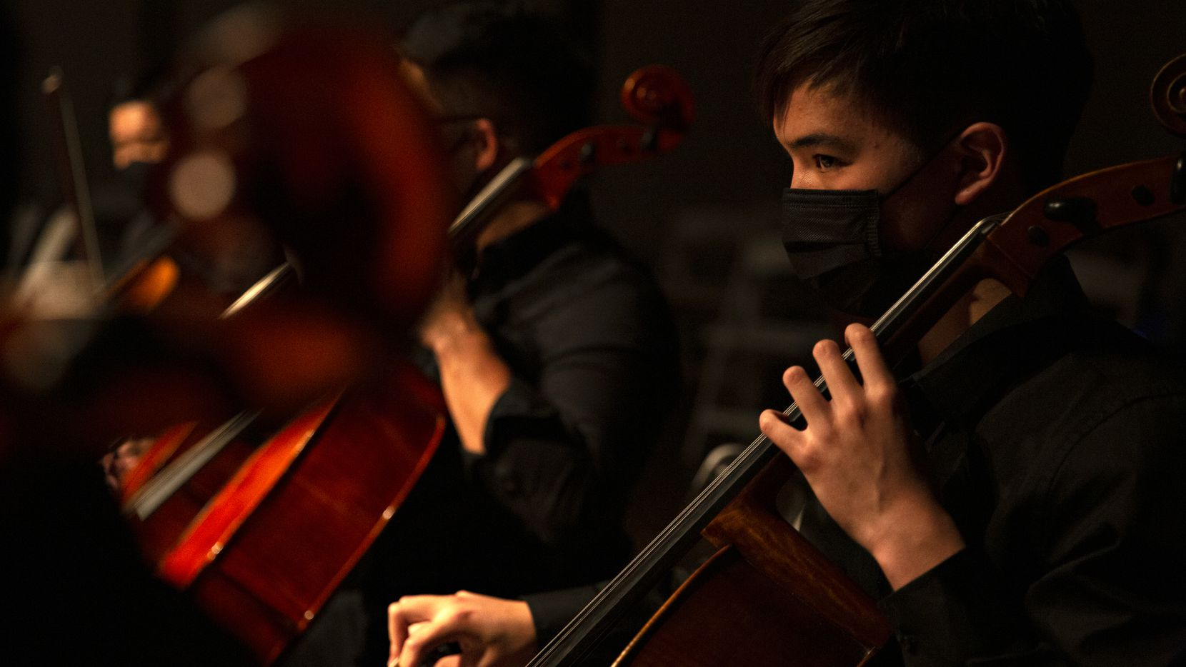 Jaden Ouyang, an eighth-grader at St. Mark's School of Texas, performs with Texas Cellos.