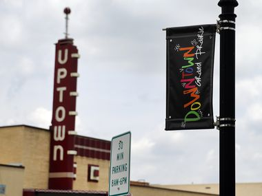 The Uptown Theatre is a historic downtown Grand Prairie landmark that was restored to its 1950's look along Main St., Thursday, June 25, 2020.