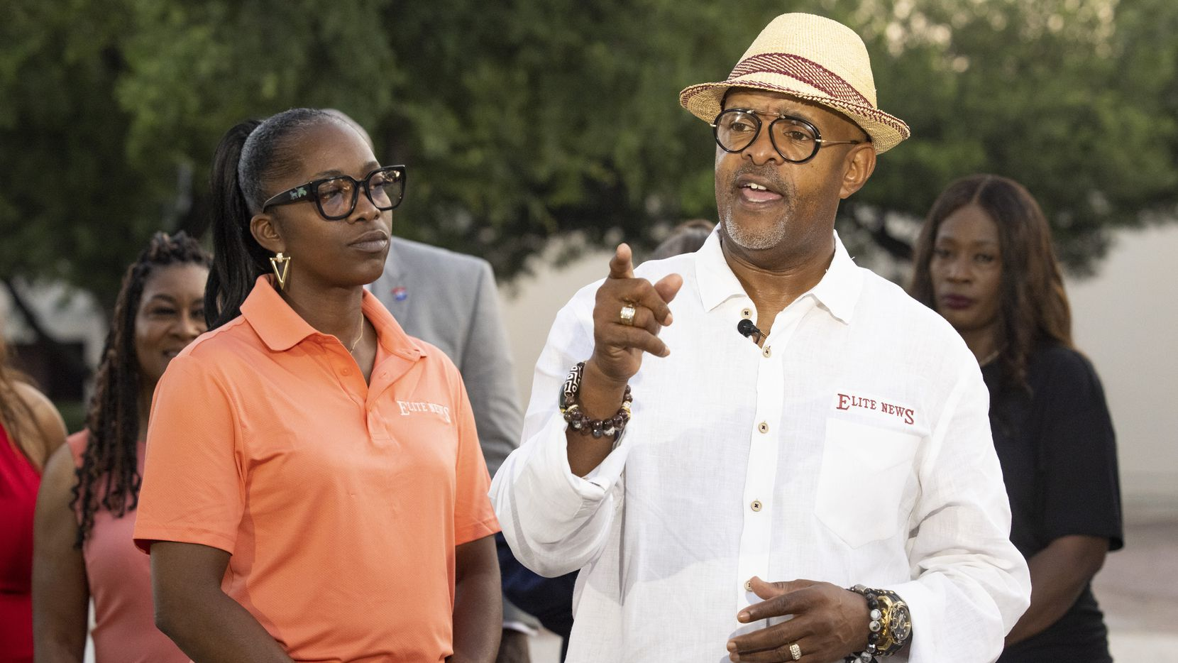 (From right) Darryl E. Blair, son of William Blair Jr., and wife Sherry Blair talk to a reporter about the Negro League Baseball exhibit on Friday, June 18, 2021, during a media preview at Fair Park in Dallas. The exhibit opens Saturday as part of the Juneteenth Celebration in Fair Park. (Juan Figueroa/The Dallas Morning News)