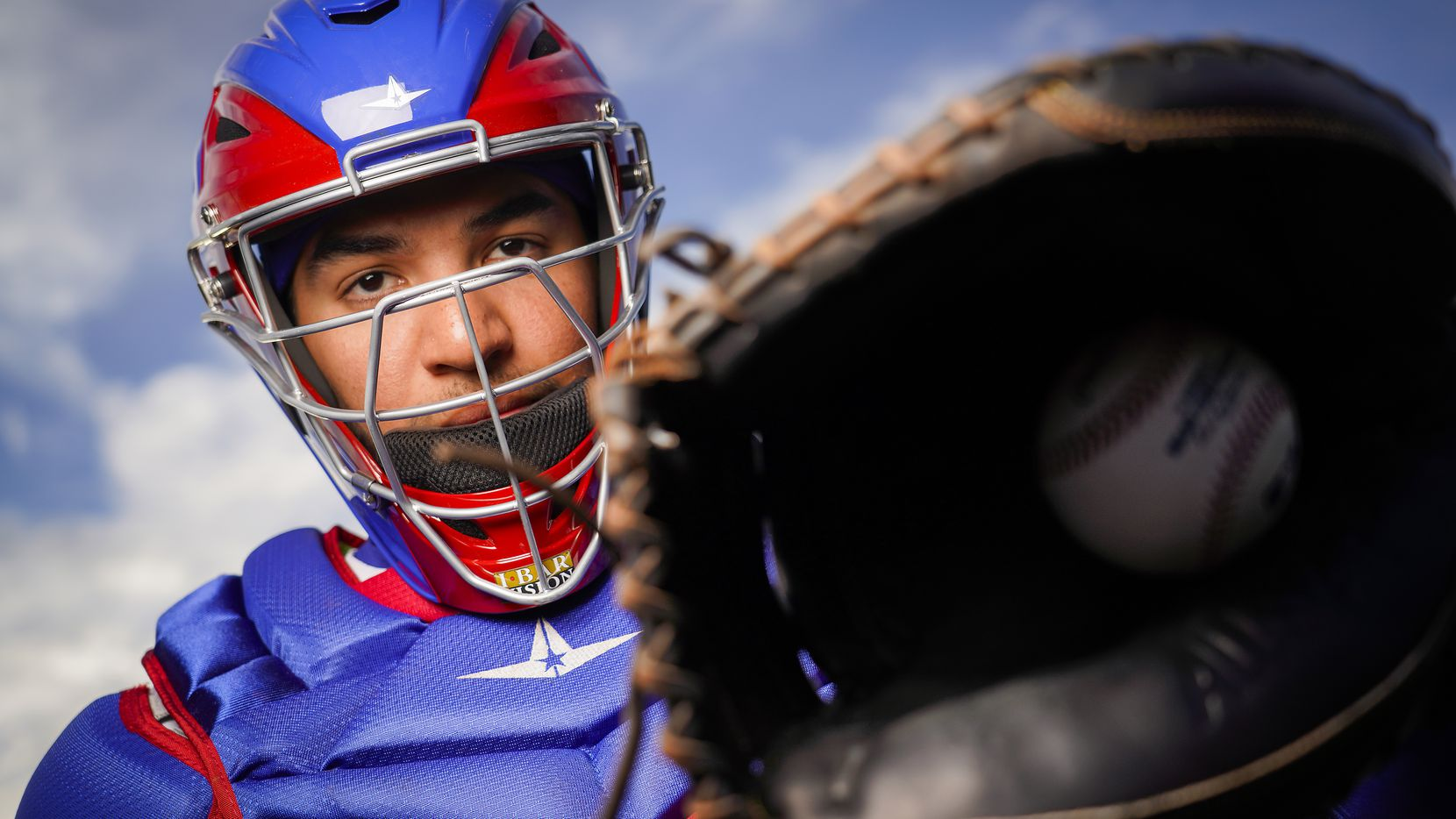 Texas Rangers catcher Jose Trevino pictured during photo day at the team's spring training facility on Wednesday, Feb. 19, 2020, in Surprise, Ariz.