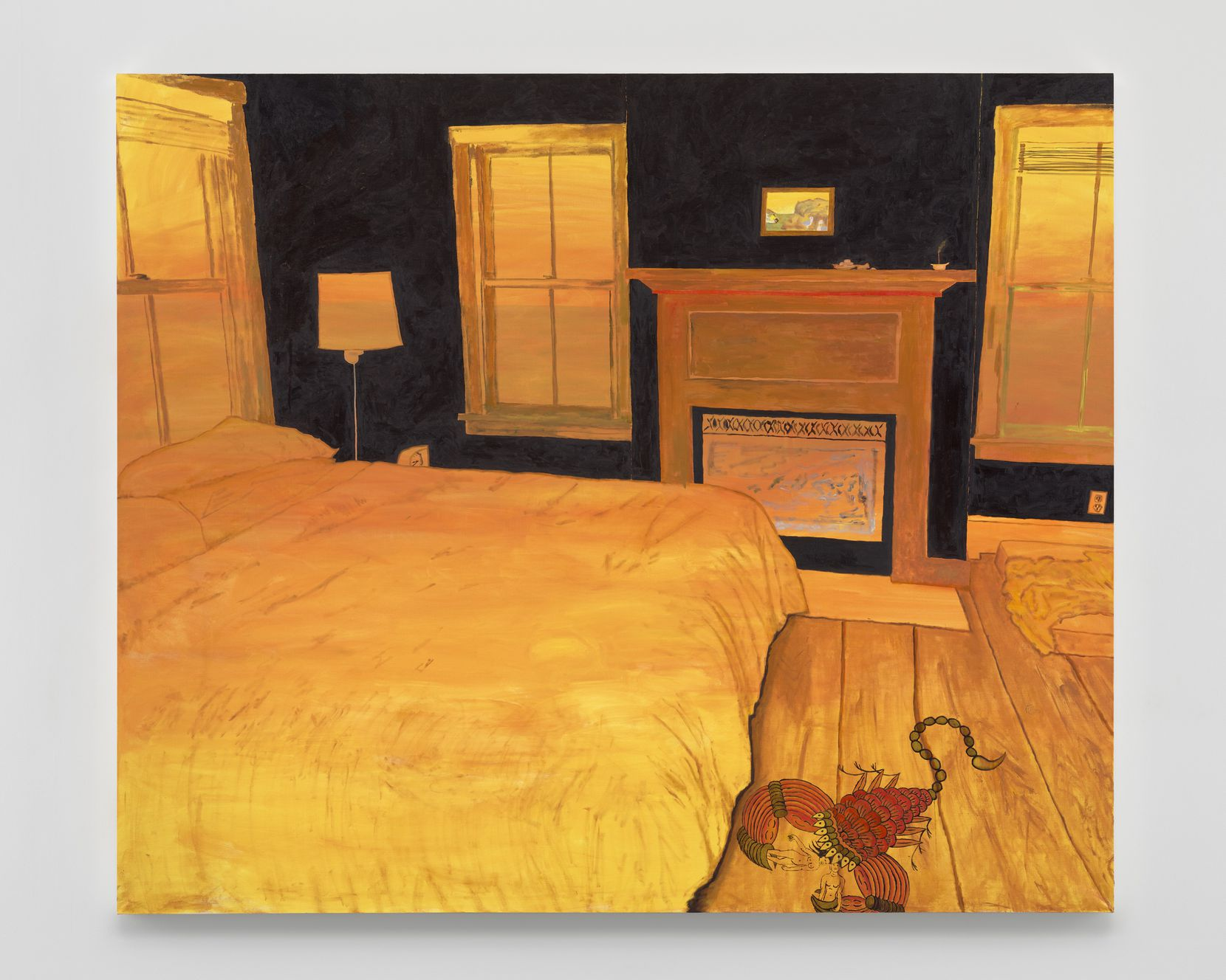 "In the standout ""Buddhadharma Fever"" (2019), artist Leidy Churchman depicts a golden-hued bedroom with a giant scorpion scrambling along the floor carrying two figures in its claws."