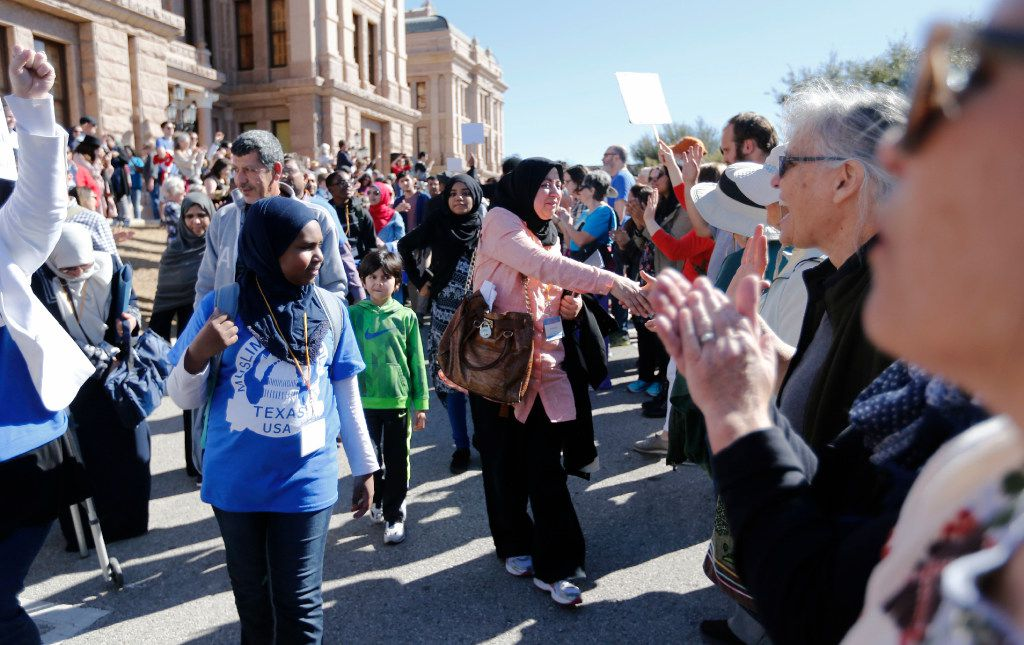 Nuzhat Hye thanks people as she leaves the press conference at the Texas Capitol during the Texas Muslim Capitol Day rally in Austin on Tuesday, January 31, 2017.
