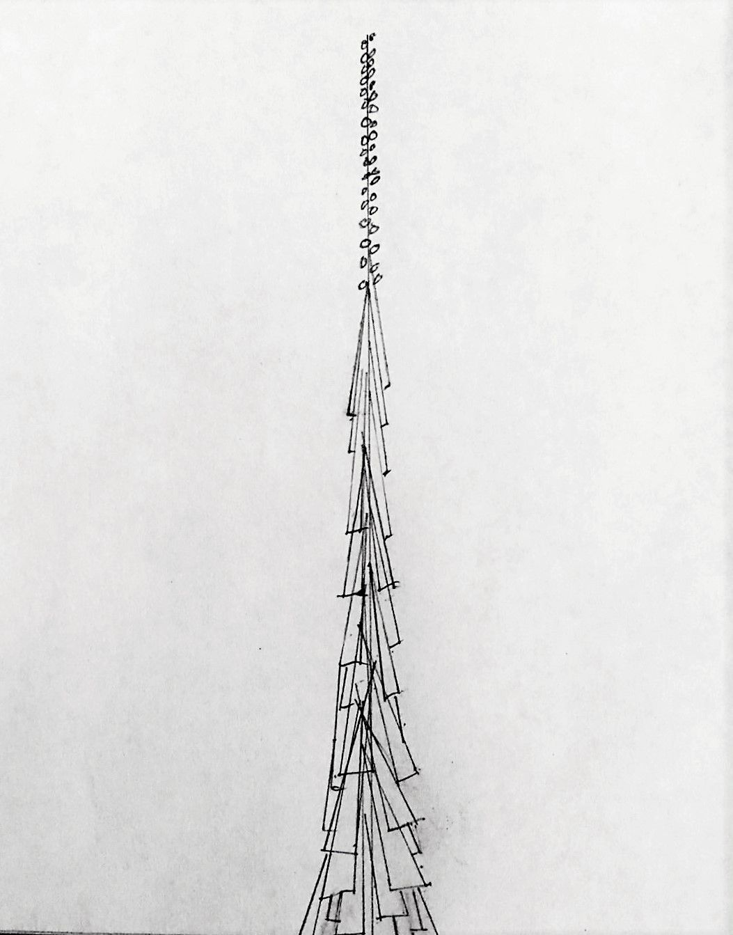 A sketch by writer and critic Scott Cantrell of his idea for a new spire for Notre Dame