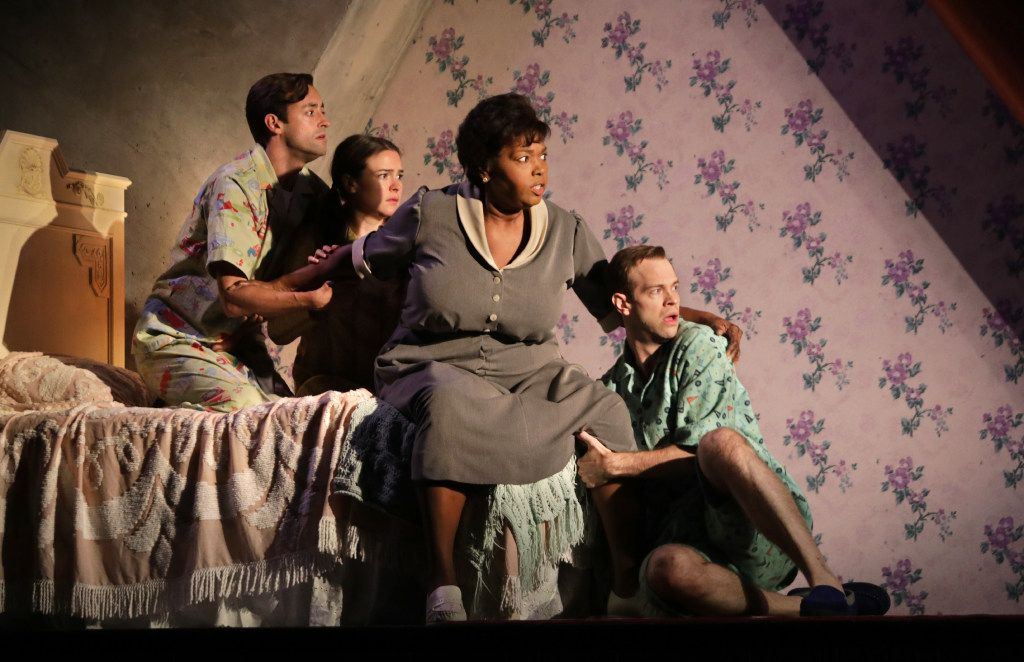 (From left) Dylan Godwin, Leah Karpel, Liz Mikel and Alex Organ play the Miller children and their maid, Doris, in the world premiere of Boo Killebrew's Miller, Mississippi,  a Dallas Theater Center production at the Wyly Theatre's Studio Theatre.