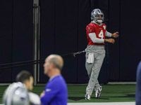 Cowboys' quarterback Dak Prescott #4 during practice at the Ford Center in Frisco on Wednesday, October 27, 2021. This is Prescott's first practice since his calf strain injury.