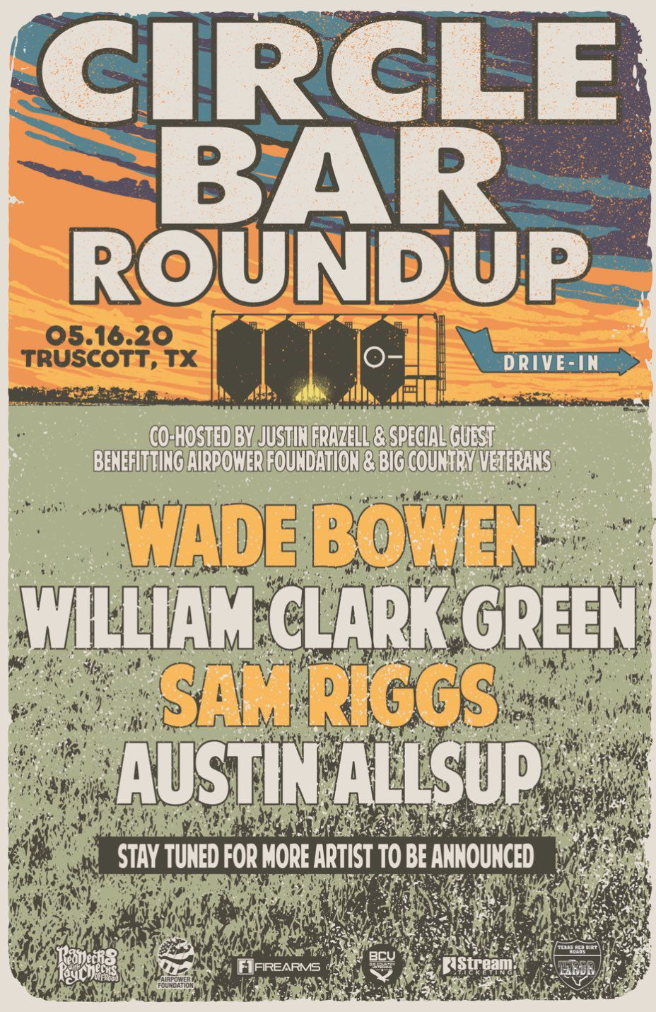 Wade Bowen, William Clark Green, Sam Riggs and Austin Allsup have been announced as the headliners for Circle Bar Roundup, a drive-in concert in Knox County on May 16, 2020.