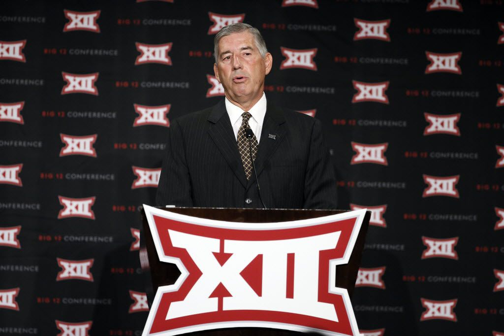 FILE - In this July 20, 2015, file photo, commissioner Bob Bowlsby addresses attendees to Big 12 Conference Football Media Days, in Dallas. The NCAA Convention will be held in San Antonio, Jan. 14-16, 2016.  (AP Photo/Tony Gutierrez, File)