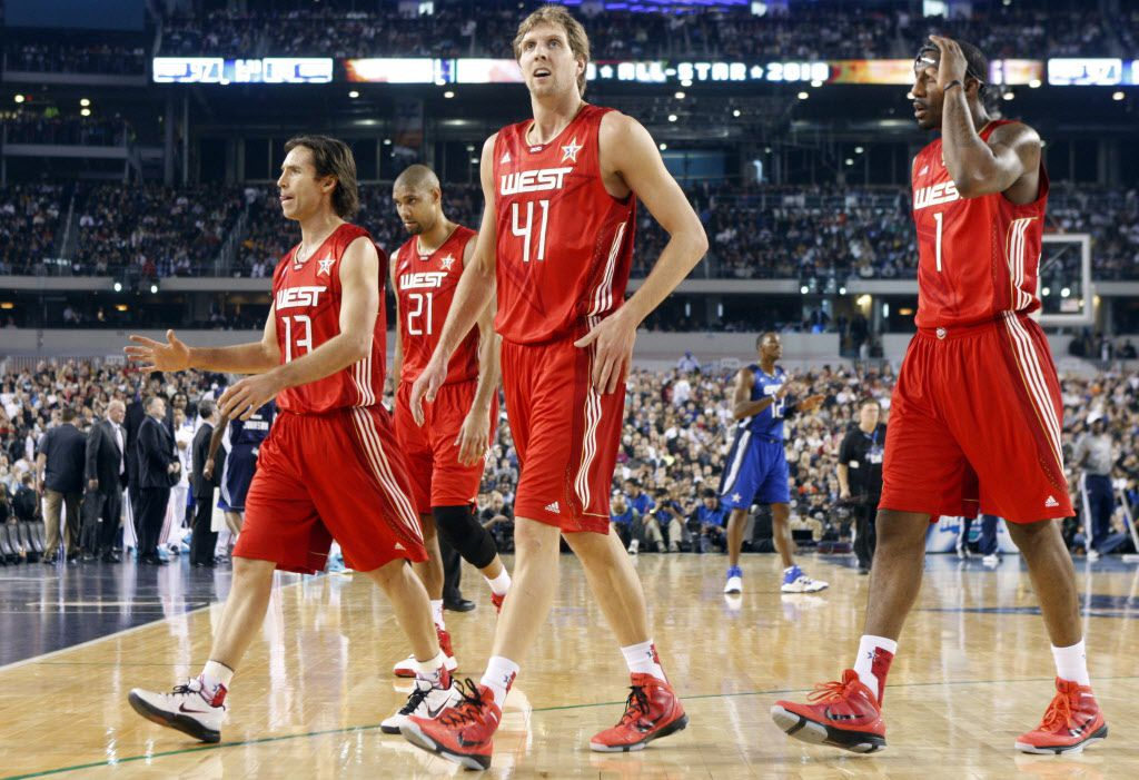 Steve Nash, Tim Duncan, Dirk Nowitzki and Amar'e Stoudemire head to the sideline during a timeout during the NBA All-Star Game at Cowboys Stadium in Arlington, Texas, on Feb. 14, 2010.