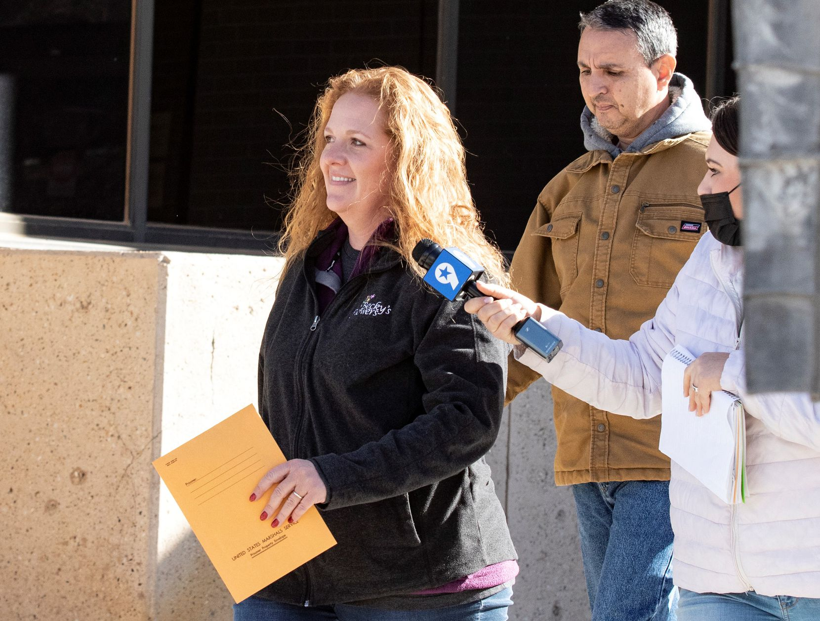 Jenny Cudd (left) outside the federal courthouse in Midland. A judge recently allowed her to travel to Mexico while on pretrial release for a business trip, which made national headlines.