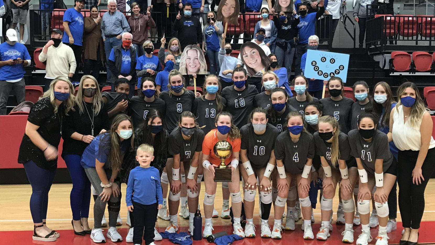 Trophy Club Byron Nelson celebrates its five-set win over Southlake Carroll on Friday. (Greg Riddle/Staff photo)