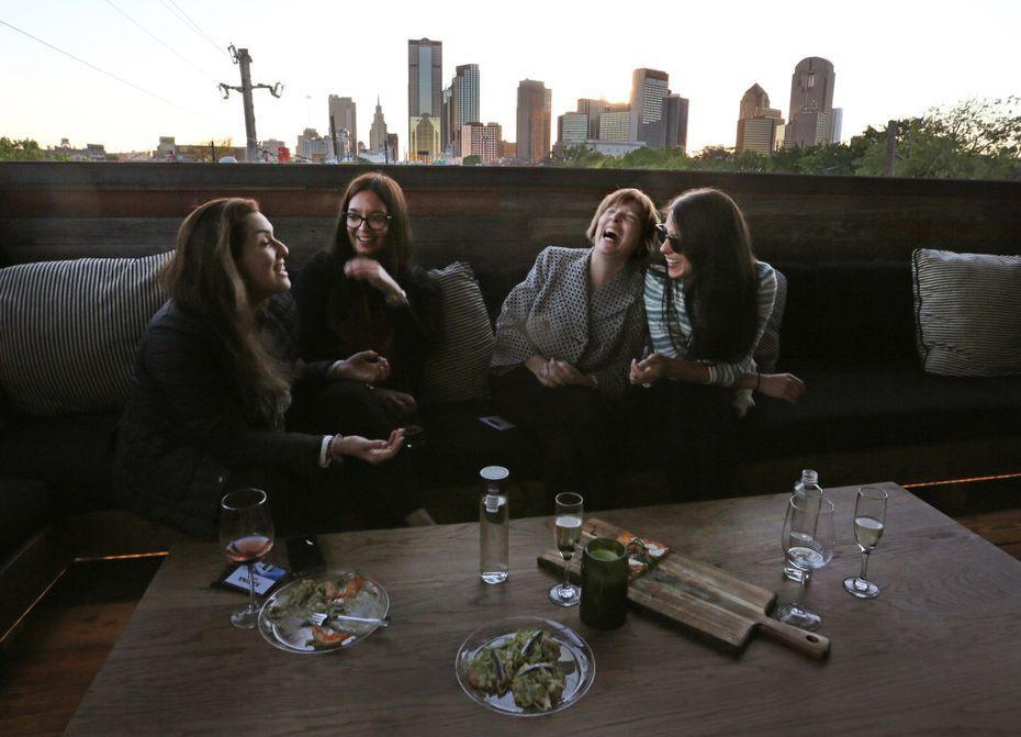 Like Vidorra, Stirr restaurant and bar in Deep Ellum has a second-floor patio with views of the Dallas skyline.