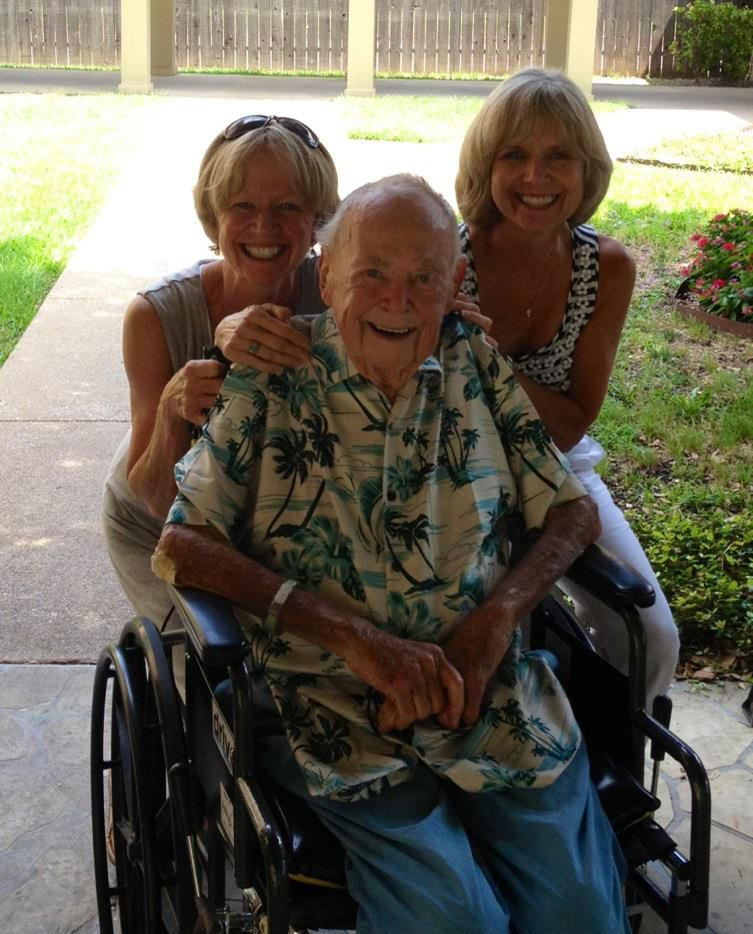 On Dad's last Father's Day, he was all smiles in his beloved Hawaiian shirt, surrounded by my sister Susan (right) and me.
