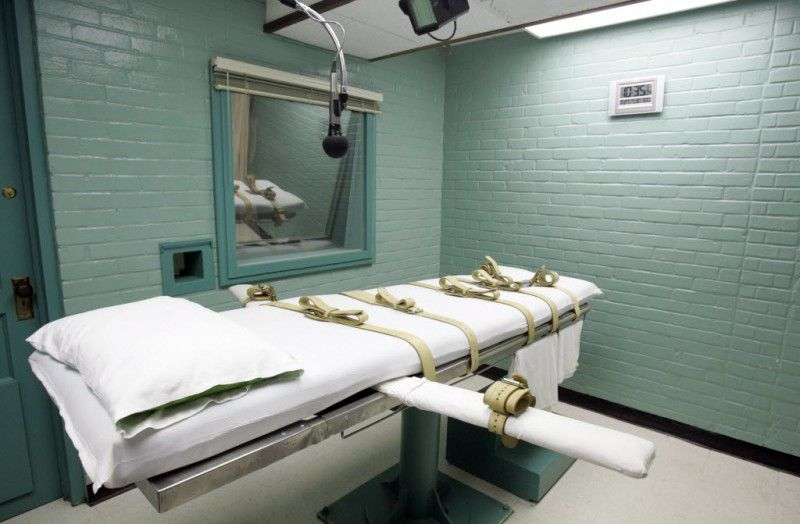 The death chamber of the Texas Department of Criminal Justice in Huntsville in 2008.