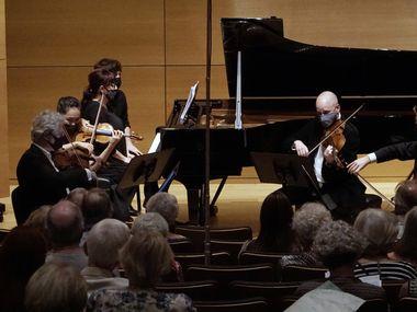 Violinists Gary Levinson and Danbi Um, pianist Baya Kakouberi, violist Dmitry Kustanovich and cellist Allan Steele will perform Frank Martin's Piano Quintet (1919) at the Modern Art Museum of Fort Worth on September 11th.