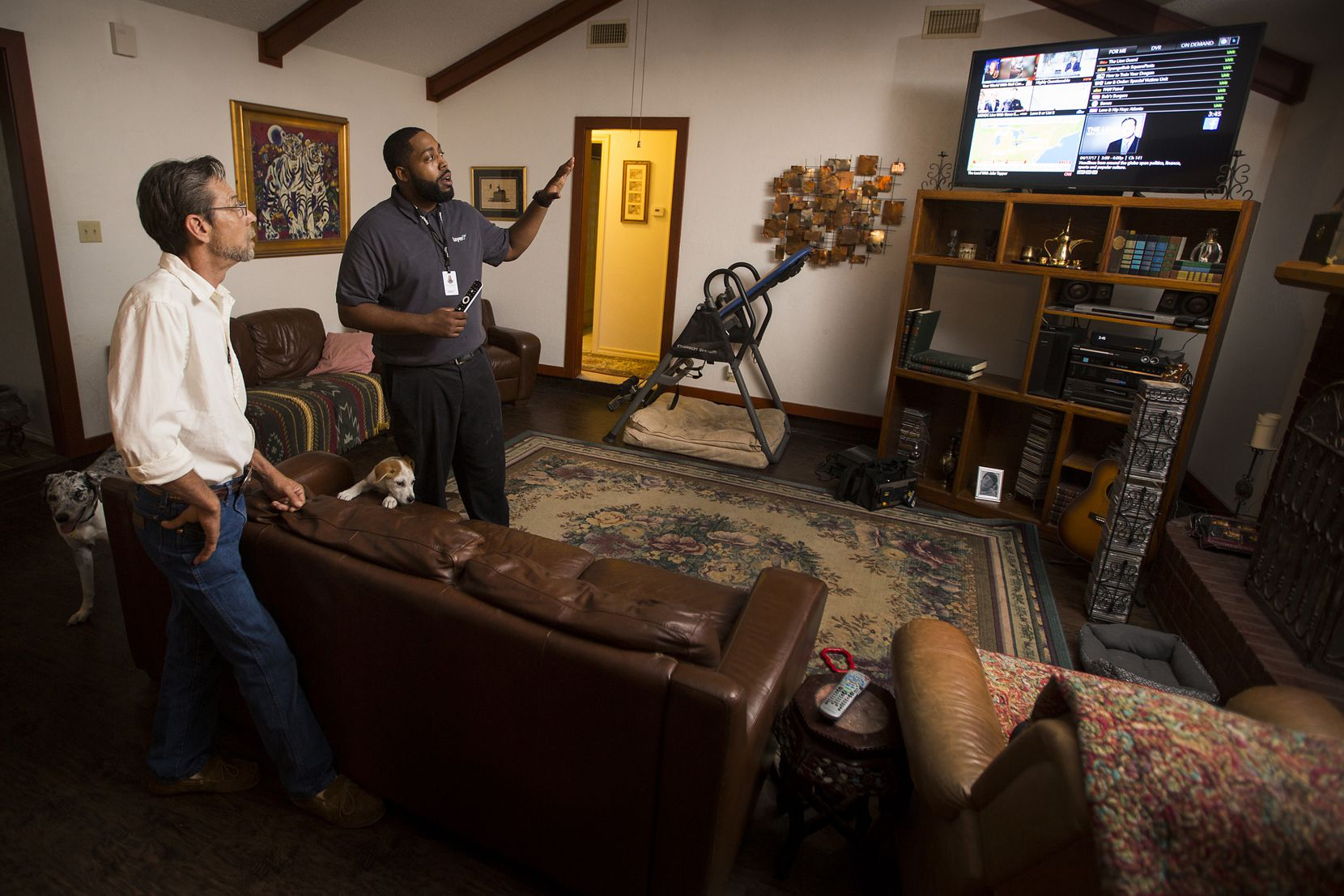 Stevan Grimes decided to switch to Layer3 after he got frustrated with his cable provider. He got walked through the operation of his new cable TV equipment by Keith Hamilton, a Layer3 technician.