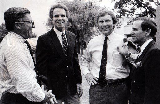 From left, Schuyler Page, Roger Staubach, Arthur L. Ruff and Troy Dungan in a 1986 Fete Set photo.