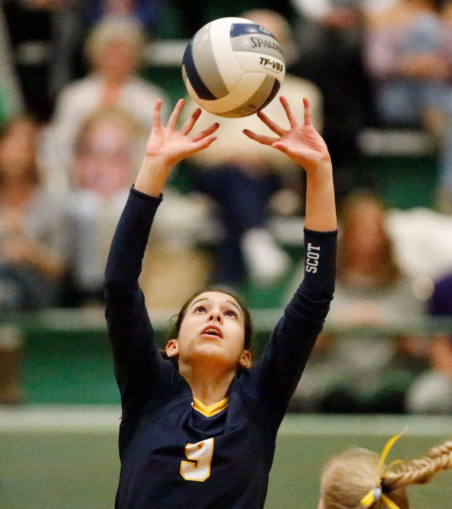 Highland Park High School setter Grace Braner (9) makes a set during game two as Lebanon Trail High School played Highland Park High School in a Class 5A Region II quarterfinal match played at Richardson Berkner High School on Monday night, November 12, 2019. (Stewart F. House/Special Contributor)