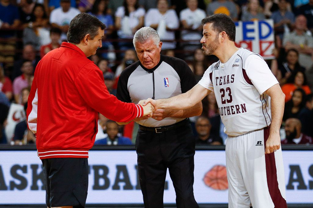 Sen. Ted Cruz and Jimmy Kimmel shake hands before the Blobfish Basketball Classic and one-on-one interview.