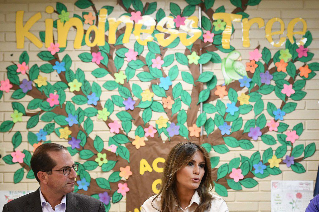 First lady Melania Trump and Health and Human Services Secretary Alex Azar take part in a roundtable discussion at Lutheran Social Services' Upbring New Hope Children's Center in McAllen