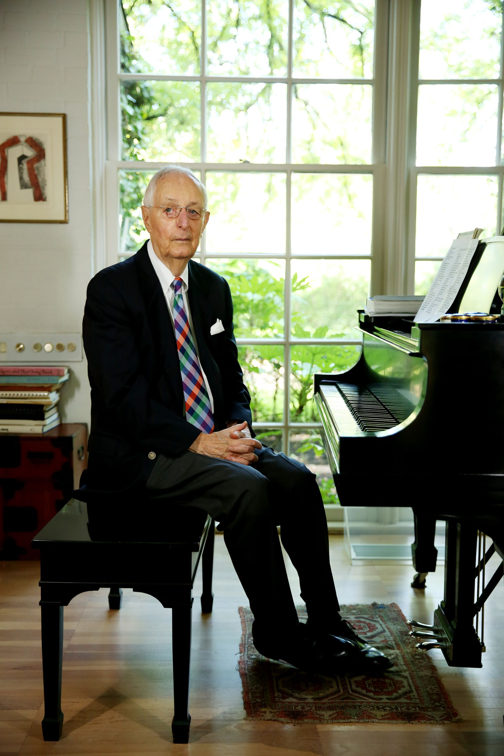 Roger Horchow photographed at his Dallas home in 2017. Composer George Gershwin played on Horchow's piano.